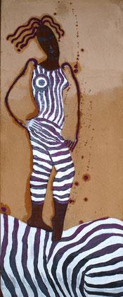 Zebra 2010 Oil,panel,sand on canvas 100x50 cm