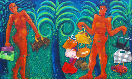 Fishing handbags in the jungle 2011 Oil, paper on canvas.98x162cm
