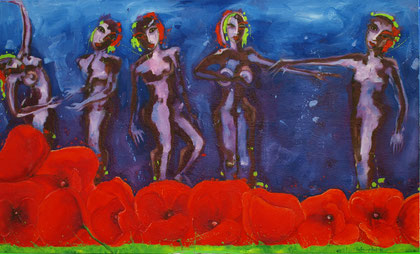Poppy dance 2010 Oil on canvas 190x100cm AVAILABLE