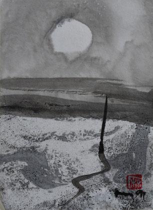 Pfahl, Vollmond, Strand marmoriert/1991/10,7x14,8 cm/ ID: U38-3806