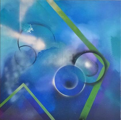 100 x 100 cm , 2015 , Kreislauf des Lebens IV , Acryl auf Leinwand