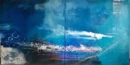 200 x 100 cm , 2015 , Feeling blue , Acryl auf Leinwand