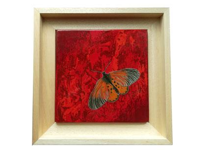 Papilio, 21x21cm, 2020, laque sur bois avec pigments et bronzines