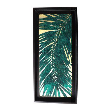 Palm Luxury, 56x26xcm, 2018, laque sur bois avec pigments et feuilles d'or vert