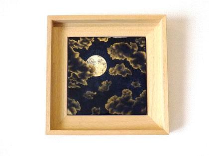 Ad Astra, 21x21cm, 2020, laque sur bois avec pigments, bronzines et feuille d'argent oxydée