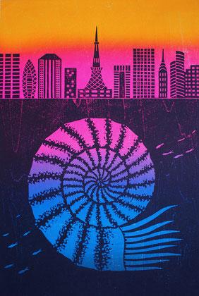 アンモナイトと東京 / an Ammonite and Tokyo,  木版画 / Woodblocks,  2019
