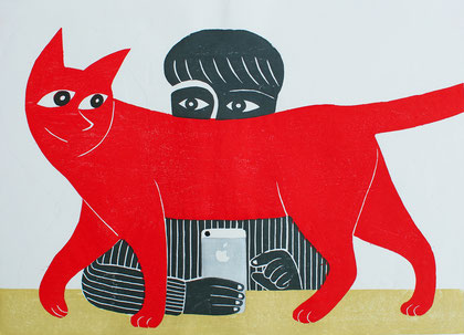 猫とiPhone / a Cat and iPhone,  木版画 / Woodblocks,  2019