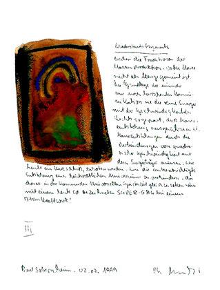 """""""Widerstandsfragmente III"""" / Sprechbild mit Text / datiert Bad Sobernheim, 02.07.1999 / Malerei mit Text auf Papier. Maße b 21,0 cm * h 29,7 cm. Im Besitz des Landes Nordrhein-Westfalen (Literaturkommission Münster)."""
