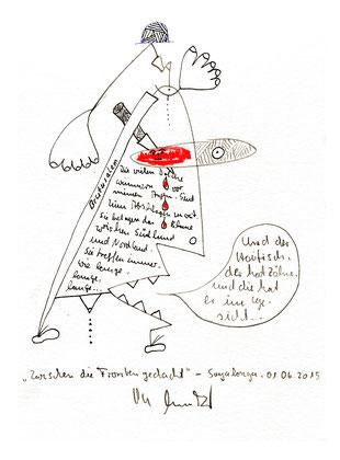 """""""Zwischen die Fronten gedacht"""" mit Text. Originalgrafik, Tusche, Bleistift, Buntstift und Text auf Papier. B 24,0 cm * H 32,0 cm. Sayalonga, 01.06.2015. Werkverzeichnis 4206."""