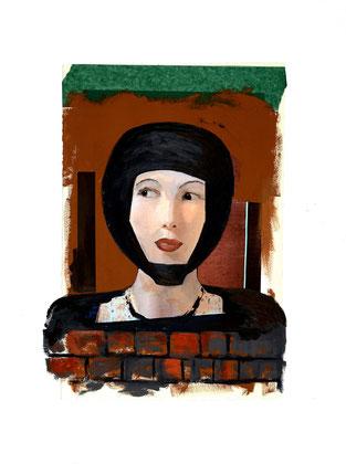 """Héritage # 2, 2013, Impression numérique, collage, acrylique et fusain sur papier / Print, collage, acrylic and charcoal on paper. 28"""" x 22"""" / 71 x 56 cm. Photo: Réal Capuano."""