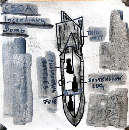 29/30 December 1941: C50A Incendiary Device, 2007 (Ink and gouache) (25x25)