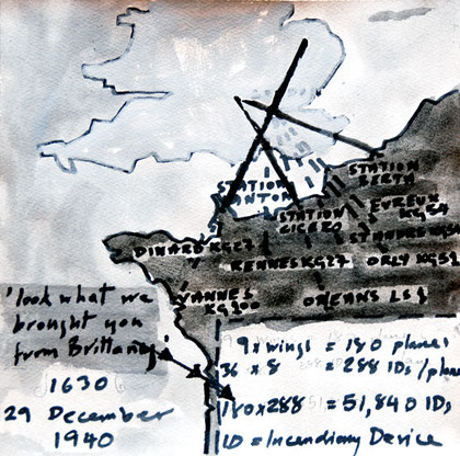 29/30 December 1941: German Airfields in Northern France, 2007 (Ink and gouache) (25x25)