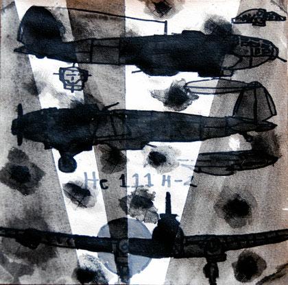 29/30 December 1941:Heinkel HE 111 h-2, 2007 (Ink) (25x25)