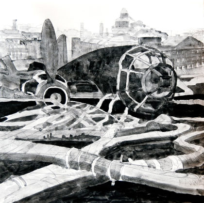 29/30 December 1941: Heinkel and Hoses, 2007 (Ink) (25x25)