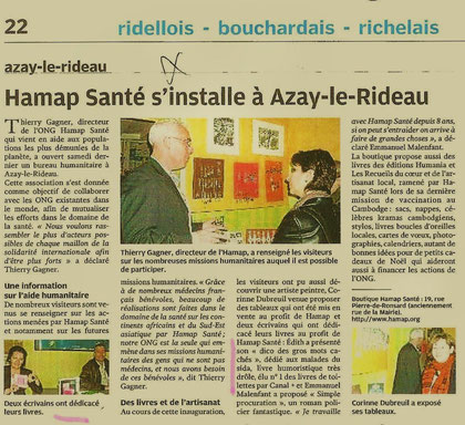 La Nouvelle République - Azay-Le-Rideau - Dédicaces d'auteurs et ventes d'oeuvres d'artistes au profit de l'HAMAP (Halte aux Mines Anti Personnel)