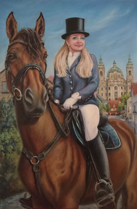 "Equestrienne - 60x90 cm / 24""x35"", acrylic and oil on canvas. Sold. Price example 479 €"