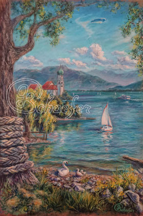 "Wasserburg Bodensee - 40x60cm / 16""x24"",  Acrylic and Oil on cardboard, 198 €"