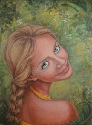 Summer girl- 30 x 40 cm, Acrylic on canvas, 243 €