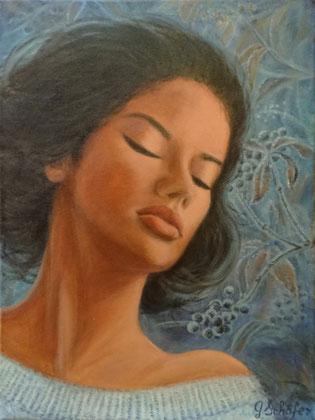 Winter girl- 30 x 40 cm, Acryl auf Leinwand, 243 €