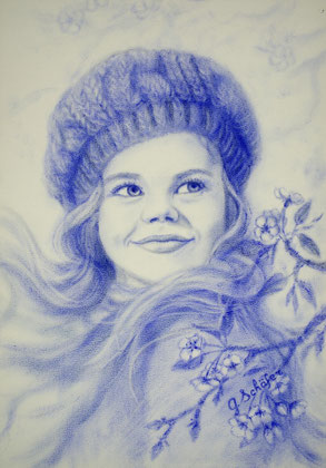 Girl in blue - 29 x 41 cm, oil on paper - Dry brush, original 98 €