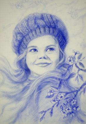 Mädchen in blau - 29 x 41 cm, Oil on paper - dry brush, price example 98 €