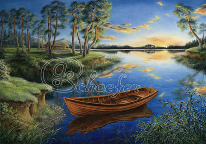 """Pine lake - 70x100cm / 28""""x39"""",  Oil on canvas, shipping rolled, 698 €"""