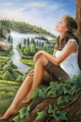 "Happiness (Matth.11-28) , 60x100 cm / 24""x39"", oil on canvas. Original 798€"