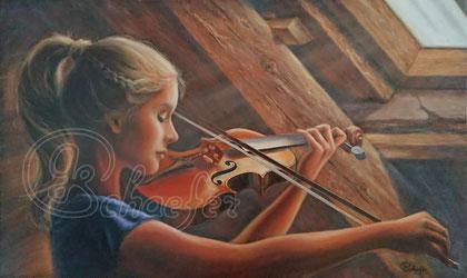 "Sound of strings - 60 x 100 / 24""x39"" cm, oil on canvas. Original € 798,"