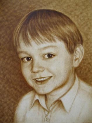 Boy I - 29 x 40 cm, oil on cardboard - Dry brush, price example 98 €