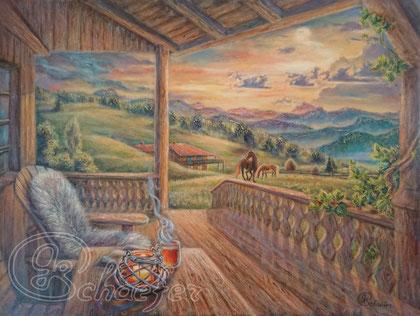 "On the mountainside - 60x80cm / 24""x32"",  Acrylic and Oil on canvas, 489 €"