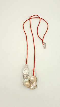 """Heart of Pearls"" - necklace - Silver, pearls, textile, coral - 2018"