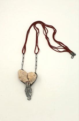 """Broken Heart"" - necklace - Silver, sandstone, textile - 2018"