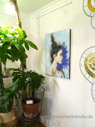 abstraktes Gemaelde Portrait Frau blau