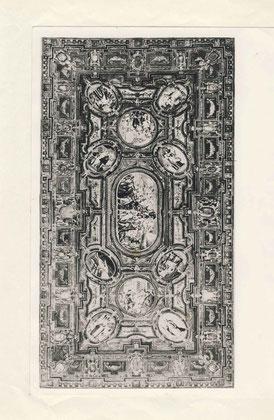 nsicht der Decke des Goldenen Saales mit Malereien von Matthias Kager, Foto vor den Zerstörungen im 2. Weltkrieg