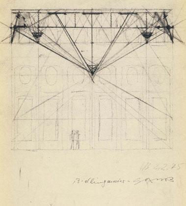 Walter Bidlingmaier und Armin Saub, Skizze für die Neugestaltung der Decke im Goldenen Saal, Schnitt durch die Deckenkonstruktion, 1974
