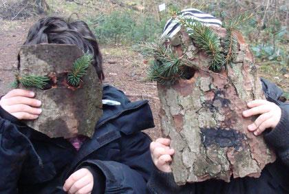 masques en écorce