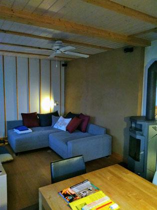 Warmwasser-Lehmwandheizung Wohnzimmer, Lehmverputzt