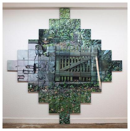 Tor zum oberen Garten, ca. 220 x 220 cm, 61-teilig, Öl auf Baumwolle, 2016