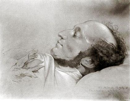 Felix Mendelssohn en su lecho de muerte - Rudolf Julius Benno Huebner.