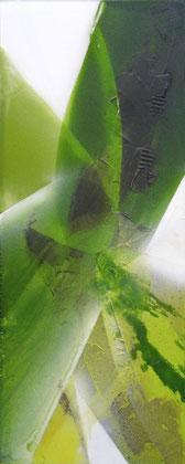 """""""The sprout"""" / Öl und Bitumen auf Acrylglas / 42 x 104 cm (verkauft)"""