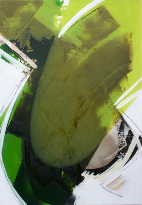 """""""Green leaf #2"""" / Öl und Bitumen auf Leinwand / 70x 100 cm - € 490,-"""