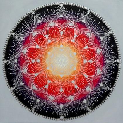 "Mandala ""Chi"" Acryl auf Leinwand / 80 x 80 cm  (verkauft)"