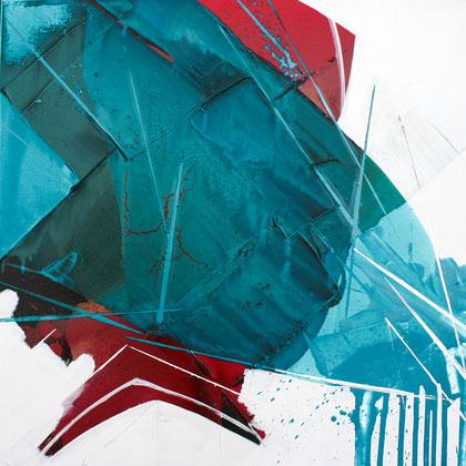 """""""Smaragd #2"""" / Öl und Bitumen auf Leinwand / 60 x 60 cm - € 250,-"""