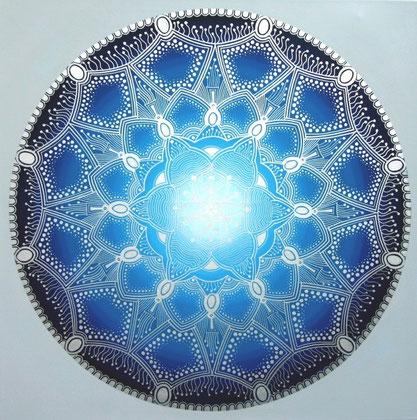 """Mandala """"Innere Stimme"""" Acryl auf Leinwand / 80 x 80 cm  € 500,-"""