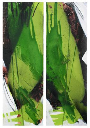 """""""Jungle"""" / Öl und Beize auf Leinwand / (2 x) 40 x 120 cm (Dyptychon) (verkauft)"""