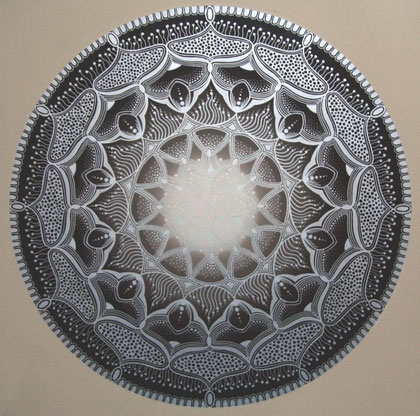 "Mandala ""Gaia"" Acryl auf Leinwand / 100 x 100 cm (verkauft)"