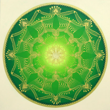 "Mandala ""Herzblume"" Acryl auf Leinwand / 80 x 80 cm  € 500,-"
