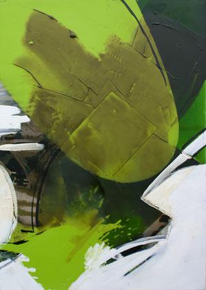 """""""Green leaf #1 """" / Öl und Bitumen auf Leinwand / 70x 100 cm - € 490,-"""