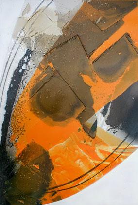 """""""Orangeade #1"""" / Öl und Bitumen auf Leinwand / 60 x 90 cm -  €390,-"""