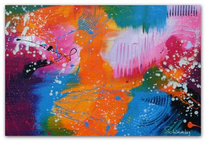 """""""Sparkle"""" Acryl auf Leinwand / 80 x 120 x 3,5 cm  € 490,-"""